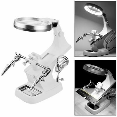 10 Led Helping Hand Welding Magnifying Glass Soldering Iron Stand Holder Station