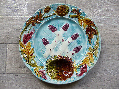 SUPERB & RARE ANTIQUE FRENCH MAJOLICA ASPARAGUS & ARTICHOKE PLATE 1900's 7 avail