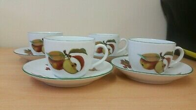 Royal Worcester Evesham Vale Cups And Saucers x4