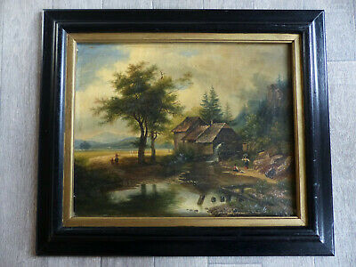 1850's SUPERB FRENCH OIL ON CANVAS PAINTING BARBIZON LANDSCAPE RIVER TO RESEARCH