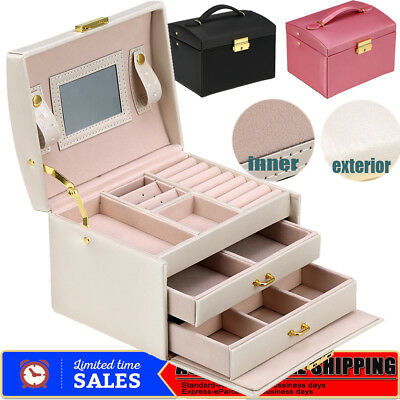 3-Layer Large Jewellery Box Gifts Necklace Ring Storage Case Mirror Organizer