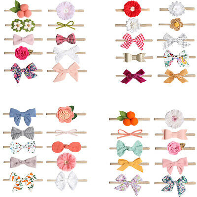 10pcs/set Baby Girl Headbands Bows Hair Accessories for Newborn Infant Toddler