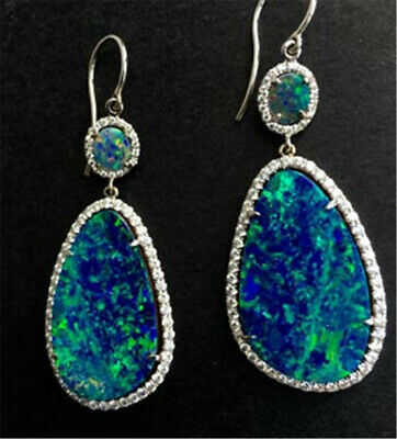 Popular 925 Silver Opal Women Jewelry Dangle Party Anniversary Drop Earrings