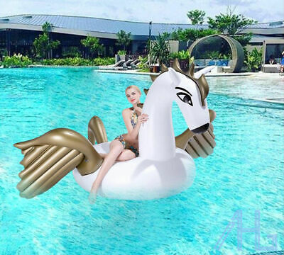 UK Inflatable Giant Pegasus Unicorn Summer Swimming Pool Float Fun Swim Ring