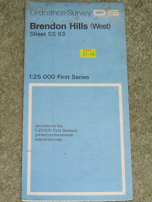 Ordnance Survey 1:25,000 First Series: Brendon Hills West, Sheet SS93 - 1981 edn