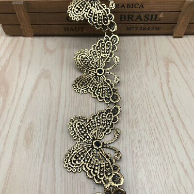 5CM Vintage Gold Victorian Antique Butterfly Embroidered Sew Lace Trim Wedding