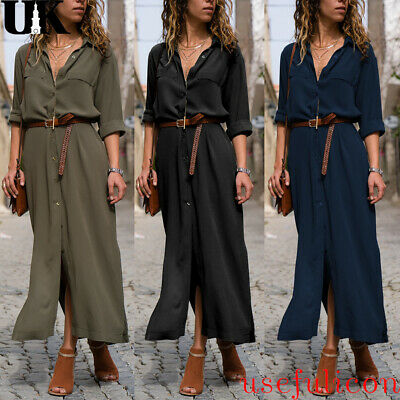 Women Long Sleeve Tunic Shirt Dress Ladies Tie Waist Button Down Split Maxi Gown
