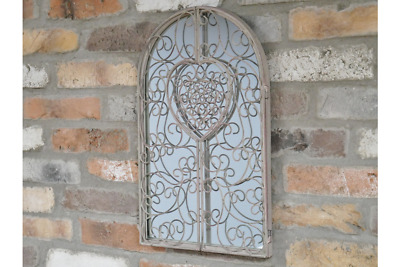 Shabby French Country Chic  Metal Arched Window Wall Mirror Home Garden