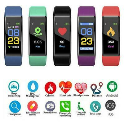 Bluetooth Smart Sport Bracelet Wristband Watch HeartRate Blood Pressure Monitor