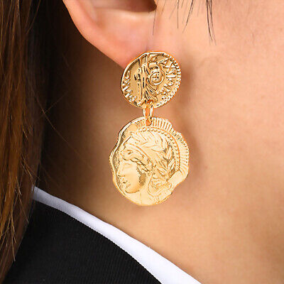Retro Queen Engraved Coin Drop Earrings Gold Filled Figure Face Medal Earring LH