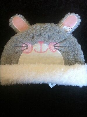 BNWT Girls Cute Pink Grey Bunny Rabbit Fur Hat With Ears Age 3-6 Months