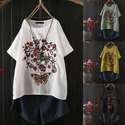 ZANZEA Womens Cotton Short Sleeve Floral Embroidered T-Shirt Tops Ladies Blouse