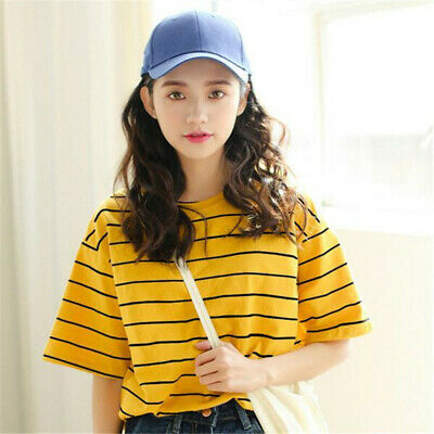 Womens Striped Short Sleeve Crew Neck T-Shirt Summer Casual Tops Blouse ONE