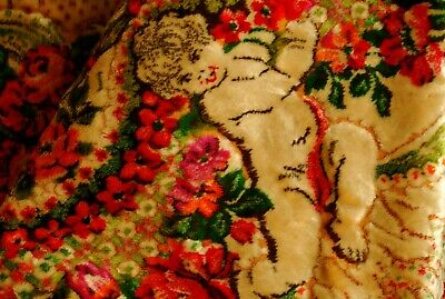 Big Antique Vintage Cherub Tapestry Floral Velvet Chenille Bedspread Tablecloth