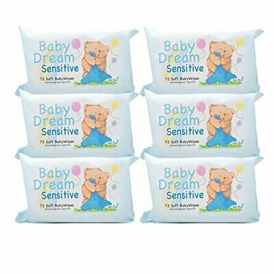 Baby Dream Sensitive 72 Soft Baby Wet Wipes Dermatologically Approved 6 Pack