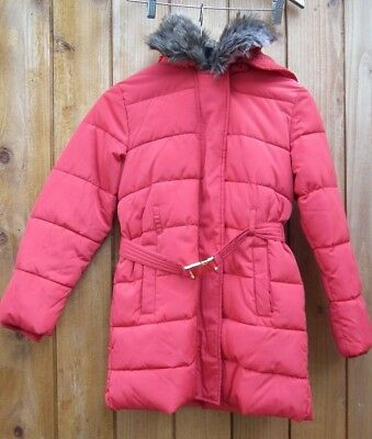 M&S Red Quilted with Detachable Faux Fur Lined Collar Winter Jacket Age 11-12