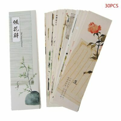 30pcs Chinese Creative Style Paper Painting Bookmarks Retro Cards Boxed Bookmark
