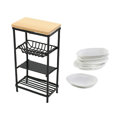 1/12 Doll House Miniature Dishes Tableware and Metal Rack Kit Accessories