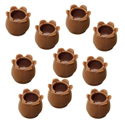 10x Round Chair Leg Caps Brown Feet Table Cover Floor Protectors 22-28mm