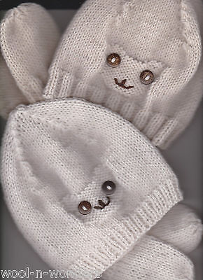 Hand Knitted~Teddy face ~Hat & Mitts~ 3-6mths various colours