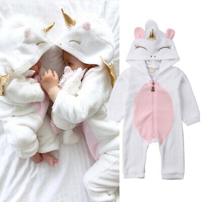 Newborn Baby Boys Girls Unicorn Flannel Romper Jumpsuit Bodysuit Outfits Clothes