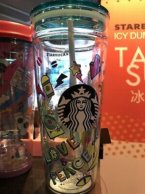 Starbucks 2019 China Summer Love Music 20oz Double Glass Tumbler Cup