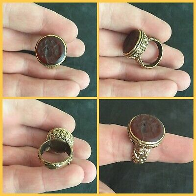 Rare post Medieval Bronze gilt carnealian  stone Seal Ring 18th to 19th c