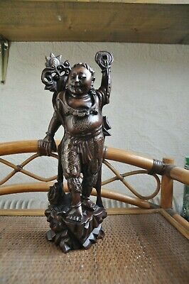 OKIMONO.Rare Chinese / Japanese.  Antique Wood Carved with silver inlay