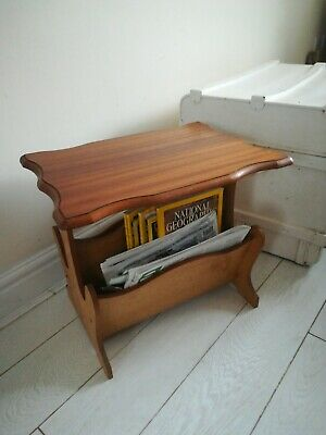 Vintage Teak Effect Table top Magazine Rack
