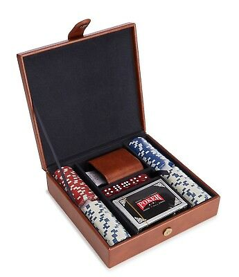 Poker Chips Set Casino Dice Chip Cards With Vintage Leather Case