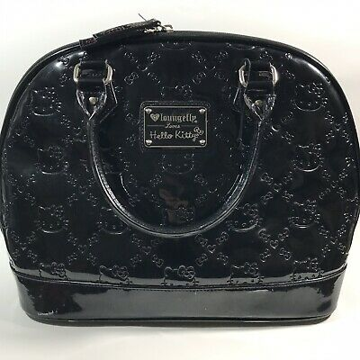 9075e1c88 Loungefly Loves Hello Kitty Black Patent Leather Embossed Weekender Tote Bag