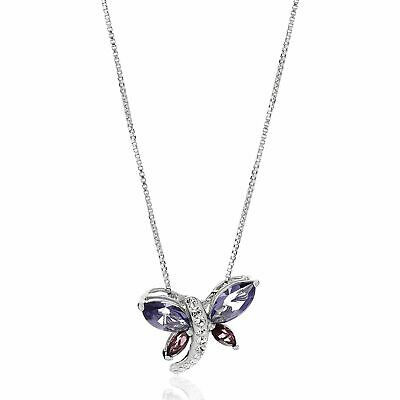 Crystaluxe Dragonfly Pendant with Swarovski Crystals in Sterling Silver, 18""