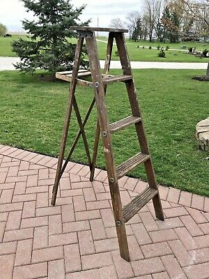 Antique Primitive Rustic Wood Step Stool Folding Ladder 5 ft Decor