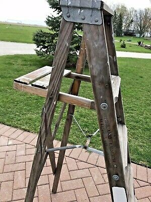 Antique Primitive Rustic Wood Folding Ladder Step Stool 5 ft Decor
