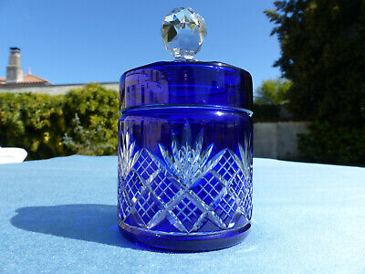 Superb Antique French Baccarat Hand Carved Blue Cut To Clear Box