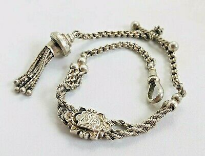 ANTIQUE VICTORIAN SOLID SILVER  ALBERTINA WATCH CHAIN TASSEL FOB EARLY 1900s