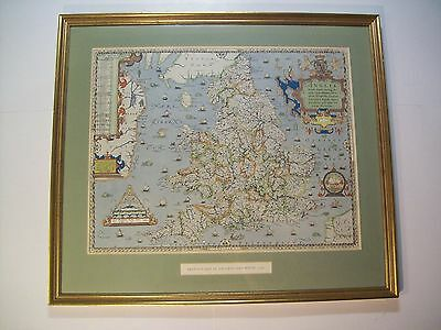 "Vintage Saxton Map Of England & Wales 1579 Print Framed 21.25"" X 24.5"" Antique"