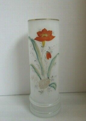 "Antique LARGE VICTORIAN Bristol Glass CELERY VASE Hand Painted ENAMEL Poppy 11""!"