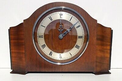 Art Deco Smithselectric Oak & Walnut Quarter Striking Mantle Clock Superb