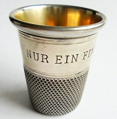 GIANT SIZE  Antique Sterling Silver Thimble Whisky Drinking Measure. 43mm High.