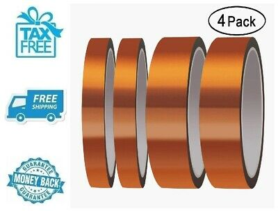 New 4pk Heat Resistant Tape High Temperature Kapton Adhesive Slip 20mm & 10mm