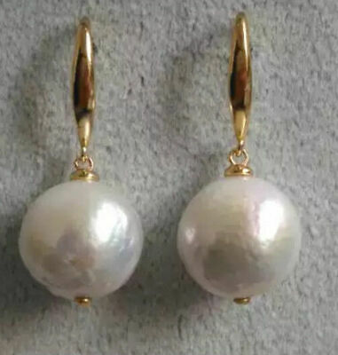10-11MM Natural round white pearl earrings with gold stud jewelry classics