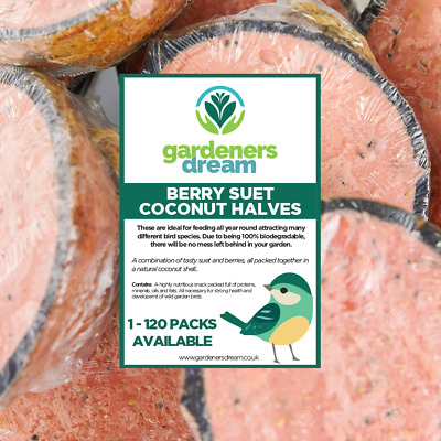 GardenersDream Berry Suet Filled Coconut Halves - Fresh Wild Garden Bird Food