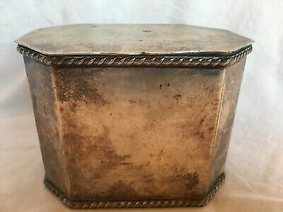 Vintage Silver Silverplate Box Hinge Lid Fish Mark Stamp Octagon 3""