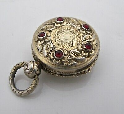 Beautiful garnet set silver-gilt novelty vinaigrette Lawrence & Co B'ham 1823