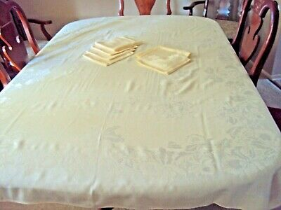 Vintage Linen Damask Ecru Tablecloth with Eight Matching Napkins