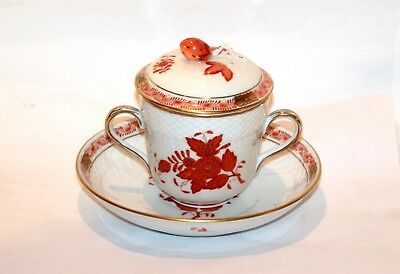 HEREND Apponyi Orange Gold * Edel-Suppe Kakao-Tasse mit Deckel * 1715/AOG 11978
