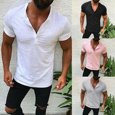 Men Slim Fit V Neck Short Sleeve Muscle Button Tee T-shirt Casual Top Blouse