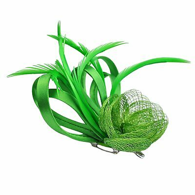 Vibrant Green Satin Loops, Sinamay & Feather Plume Fascinator on Spring Clip