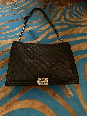 7754a9d4cfb3 Authentic Chanel Quilted Distressed Suede Leather Large Boy Flap Bag Black